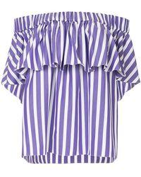 Maison Rabih Kayrouz - Striped Ruffle Off Shoulder Top - Lyst