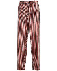 TOKYO JAMES Vertical Stripe Straight Trousers - Orange