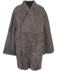 Rick Owens Wrap-style Shearling Coat - Gray