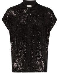 Saint Laurent Рубашка-поло С Пайетками - Черный