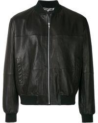 McQ Leather Bomber Jacket - Black