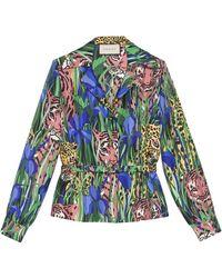 Gucci Рубашка С Принтом Feline Garden - Многоцветный