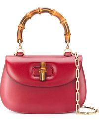 Gucci Bamboo Top Handle Bag - Red