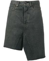 Rick Owens Drkshdw Asymmetric Denim Skirt - Blue