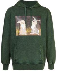 Rochambeau Rabbit Print Hoodie - Green