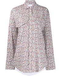Pushbutton Hemd mit Blumen-Print - Weiß