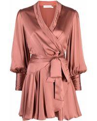 Zimmermann Zijden Mini-jurk - Roze