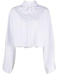 MM6 by Maison Martin Margiela ストライプ クロップドシャツ - ホワイト