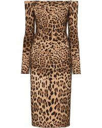 Dolce & Gabbana - オフショルダーレオパードクレープドレス - Lyst