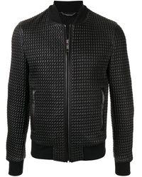 Dolce & Gabbana レザー ボンバージャケット - ブラック