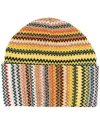 M Missoni Chevron-pattern Knitted Beanie - Yellow