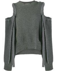 Stella McCartney Drawstring Cold Shoulder Sweater - Gray
