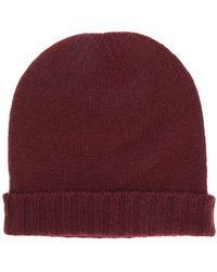 Pringle of Scotland Ribbed Trim Beanie Hat - Red