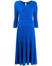 N.Peal Cashmere リブニット ドレス - ブルー