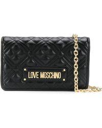 Love Moschino キルティング ロゴ クラッチバッグ - ブラック