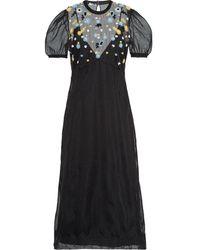 Miu Miu Kleid mit Blumenstickerei - Schwarz