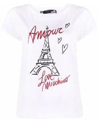Love Moschino Amour Tour Eiffel Tシャツ - ホワイト