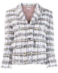 Thom Browne リボン ツイードコート - グレー