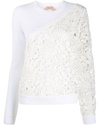 N°21 Floral Crochet Panels Knitted Top - White