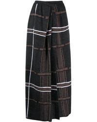 Gentry Portofino Check Pleated Wrap Skirt - Grey