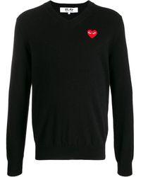 COMME DES GARÇONS PLAY ロゴ セーター - ブラック