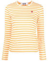 COMME DES GARÇONS PLAY ストライプ ロングtシャツ - オレンジ