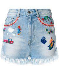 SJYP Embroidered denim shorts - Bleu
