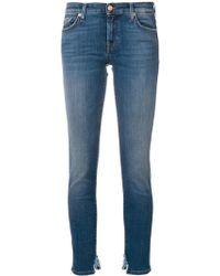 7 For All Mankind Distressed Hem Slim-fit Jeans - ブルー