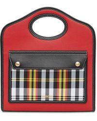Burberry チェックポケット ハンドバッグ - レッド
