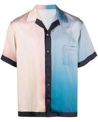 Attachment Gradient Print Short-sleeve Shirt - Blue