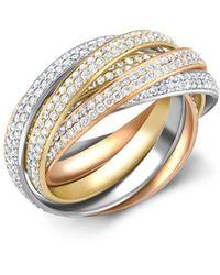 Cartier - Present Day Trinity ダイヤモンド リング 18kローズゴールド / 18kイエローゴールド / 18kホワイトゴールド - Lyst