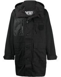 DIESEL パネル フーデッドコート - ブラック