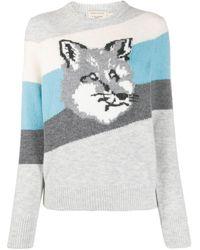 Maison Kitsuné Fox ストライプ セーター - ブルー