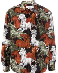 KENZO Horse Print Long-sleeve Shirt - Green