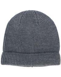 Canali Ribbed Knit Beanie - Grey