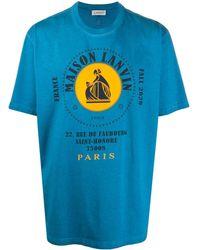 Lanvin T-shirt Met Logoprint - Blauw
