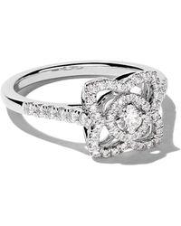 De Beers 18 Kt Witgoud Betoverde Lotus Diamanten Ring - Meerkleurig
