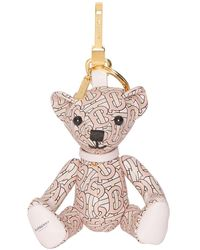 Burberry Thomas Bear Charm In Monogram Print Leather - Pink