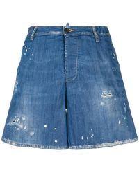 DSquared² - Distressed Denim Shorts - Lyst