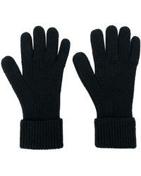 N.Peal Cashmere Ribbed Gloves - Black