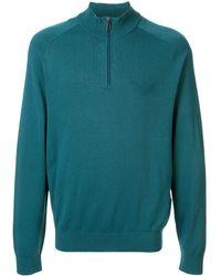 Emporio Armani Logo Zip-up Sweatshirt - Blue
