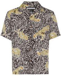 fa98e46af85 Saint Laurent Short-sleeved Leopard-print Twill Shirt in Brown for ...