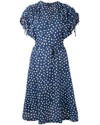 A.P.C. - Clare Belted Polka-dot Cotton And Linen-blend Dress - Lyst