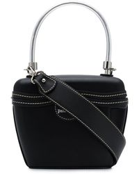 Palm Angels Leather Top Handle Bag - Black