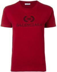 Balenciaga T-shirt Met Logoprint - Rood