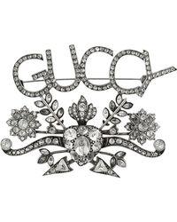 Gucci - Брошь С Логотипом Guccy И Кристаллами - Lyst