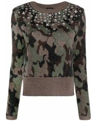 Giambattista Valli Embellished Camouflage Sweater - Green