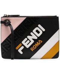 Fendi - Black Mania Triplette Xs Leather Clutch Bag - Lyst