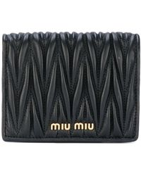 Miu Miu Uitvouwbare Portemonnee - Zwart