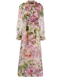 Dolce & Gabbana - Abrigo oversize con estampado floral - Lyst